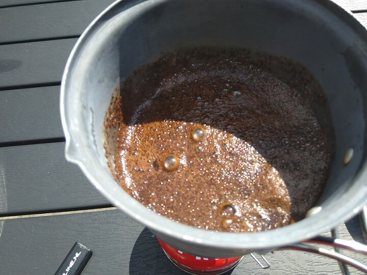 Cowboy coffee making